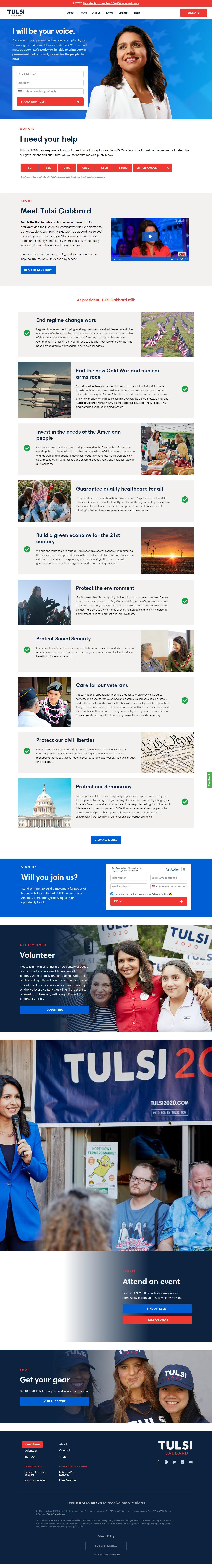 Homepage Snapshot for December 1, 2019: Representative Tulsi Gabbard
