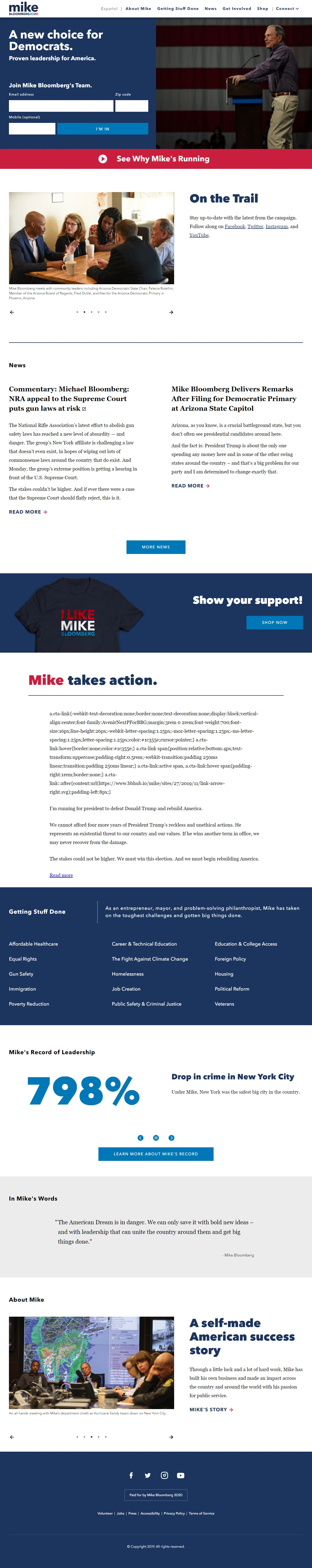Homepage Snapshot for December 1, 2019: Former Mayor Michael Bloomberg