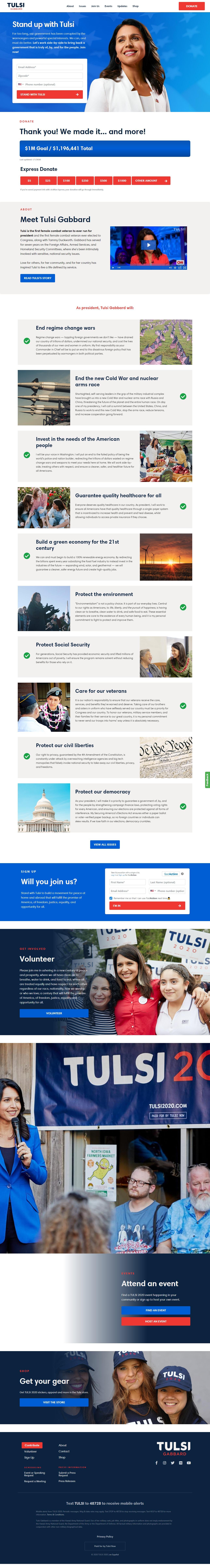 Homepage Snapshot for January 1, 2020: Representative Tulsi Gabbard