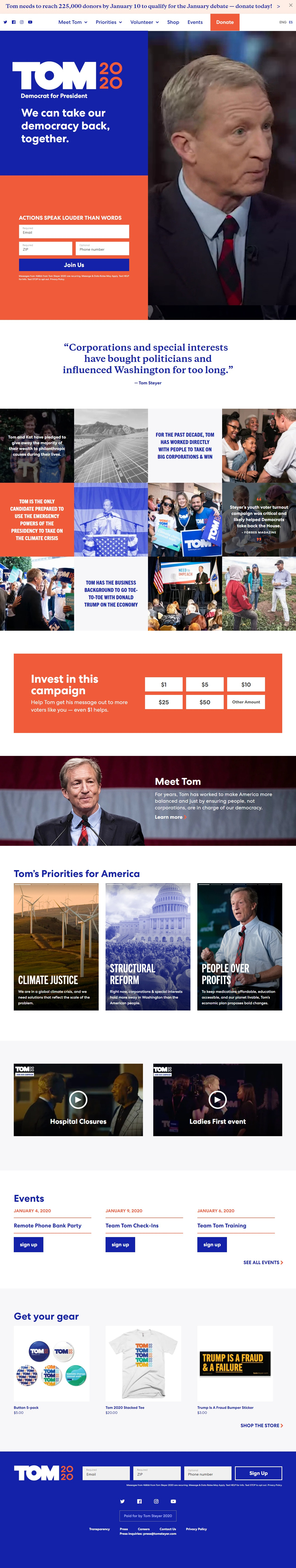 Homepage Snapshot for January 1, 2020: Businessperson Tom Steyer