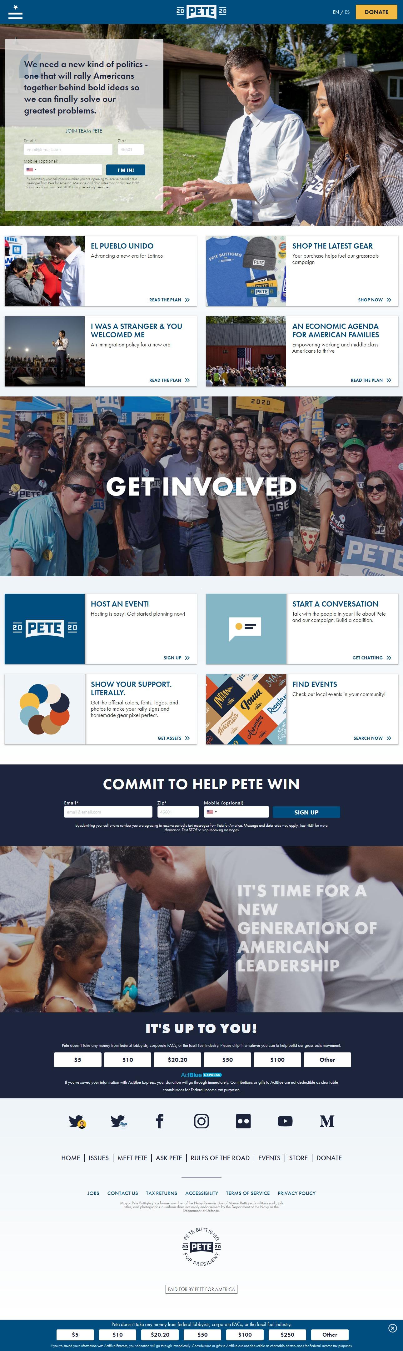 Homepage Snapshot for January 1, 2020: Mayor Pete Buttigieg