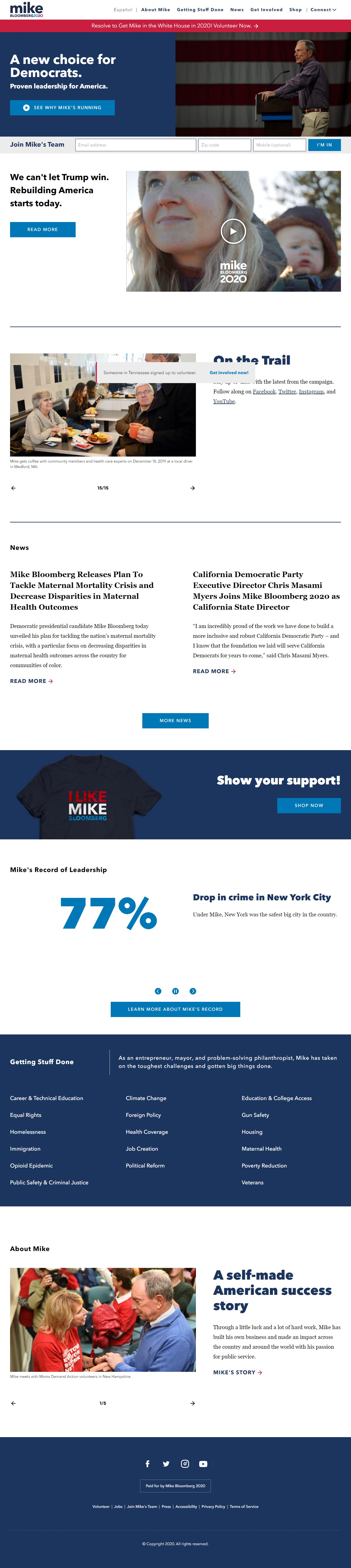 Homepage Snapshot for January 1, 2020: Former Mayor Michael Bloomberg