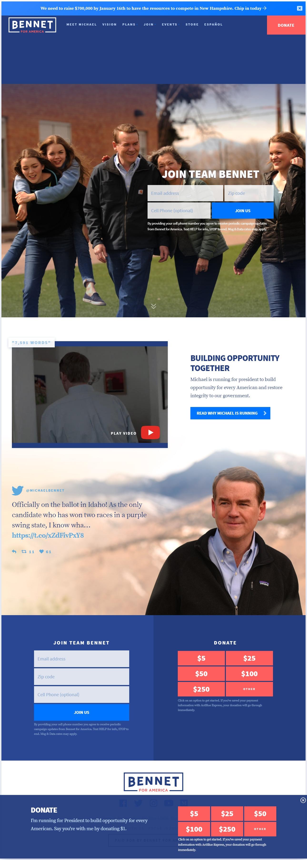Homepage Snapshot for January 1, 2020: Senator Michael Bennet