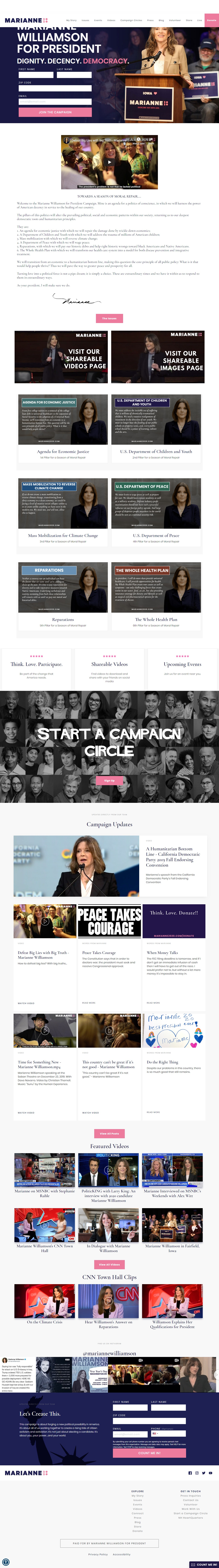Homepage Snapshot for January 1, 2020: Author Marianne Williamson