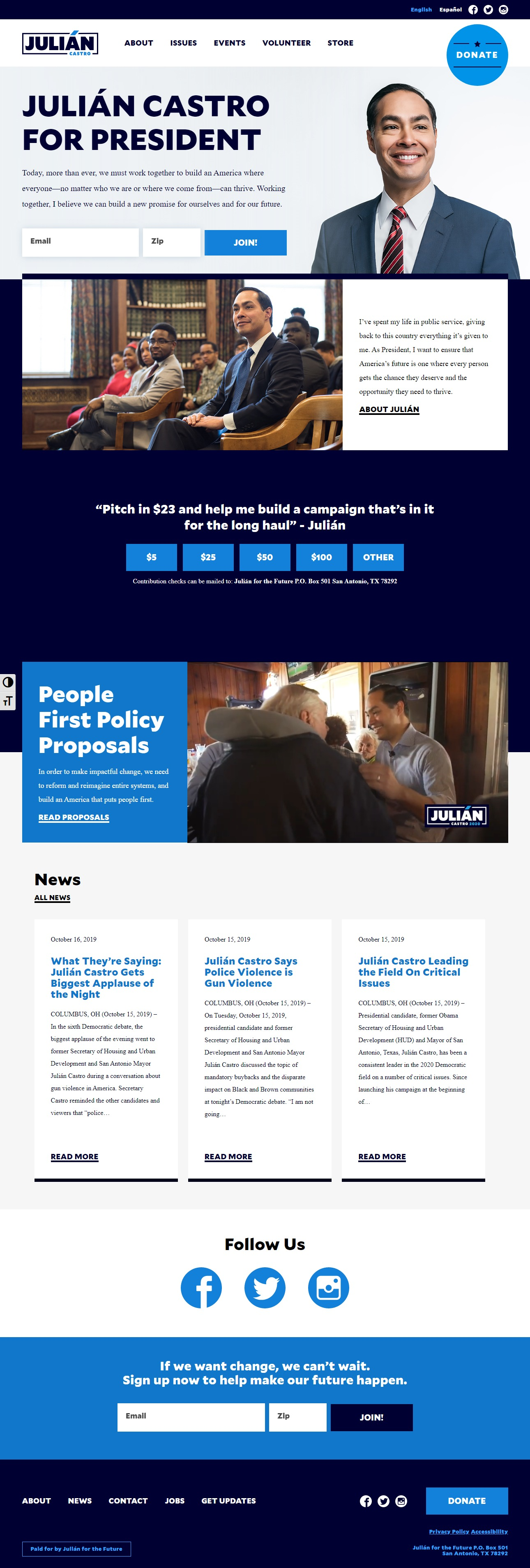 Homepage Snapshot for January 1, 2020: Former Mayor Julián Castro