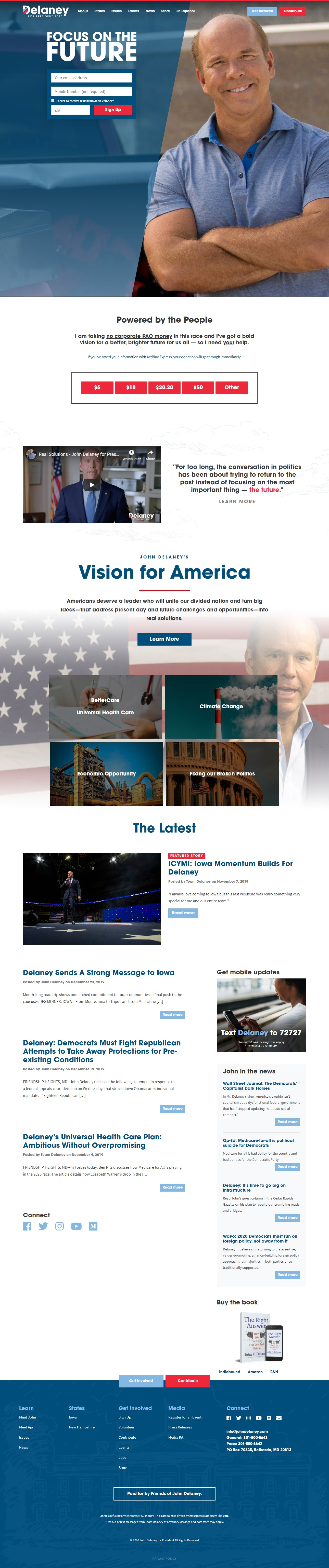 Homepage Snapshot for January 1, 2020: Former Representative John Delaney