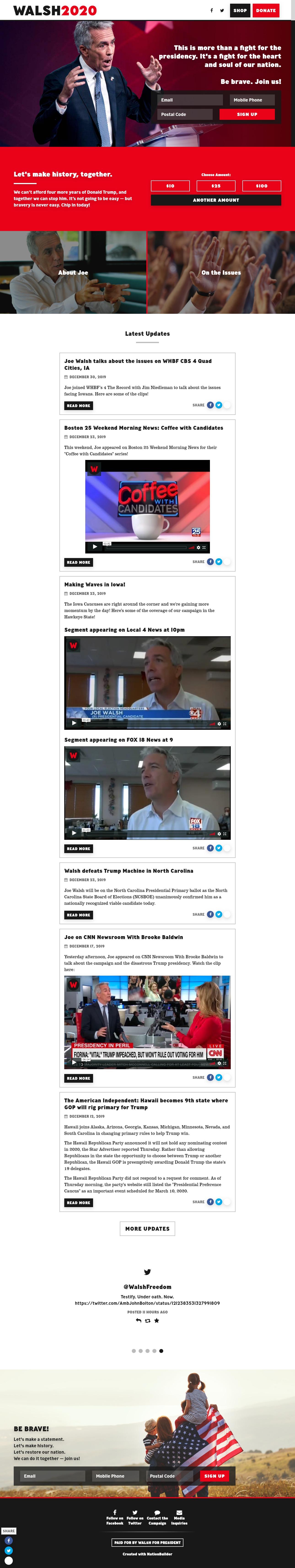 Homepage Snapshot for January 1, 2020: Former Representative Joe Walsh