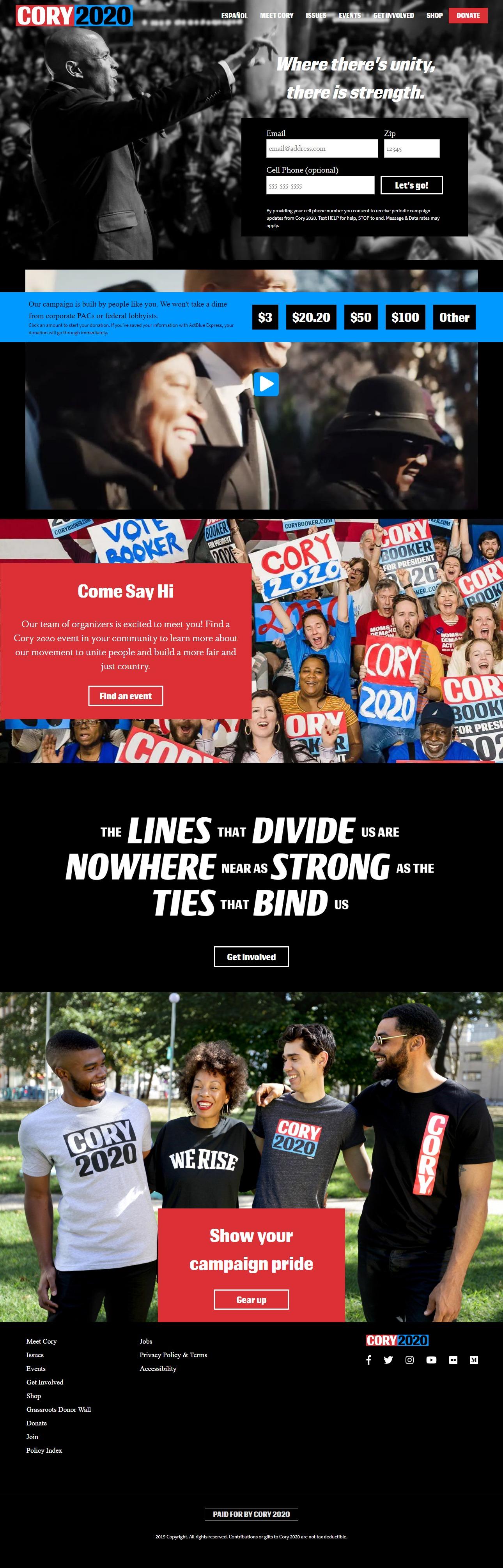 Homepage Snapshot for January 1, 2020: Senator Cory Booker