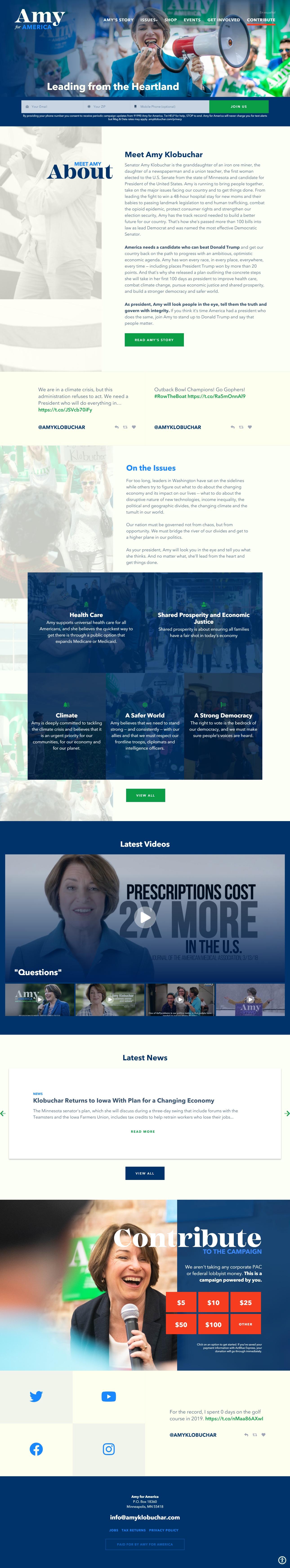 Homepage Snapshot for January 1, 2020: Senator Amy Klobuchar