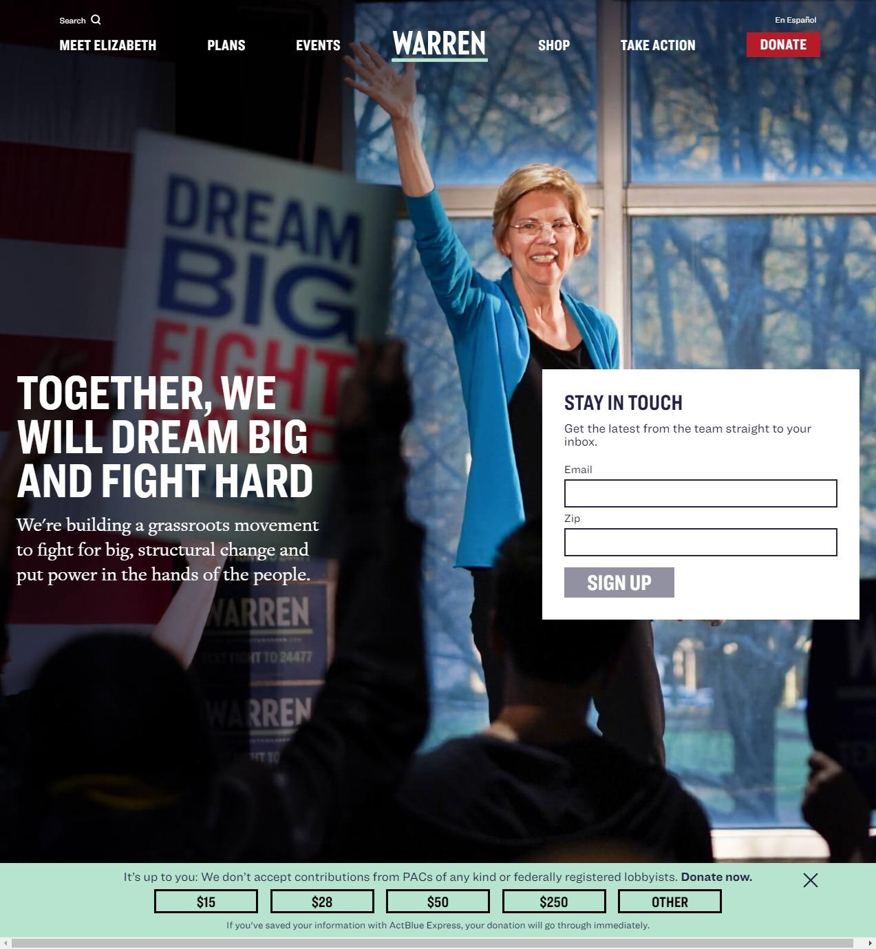 Homepage Snapshot for January 1, 2020: Senator Elizabeth Warren