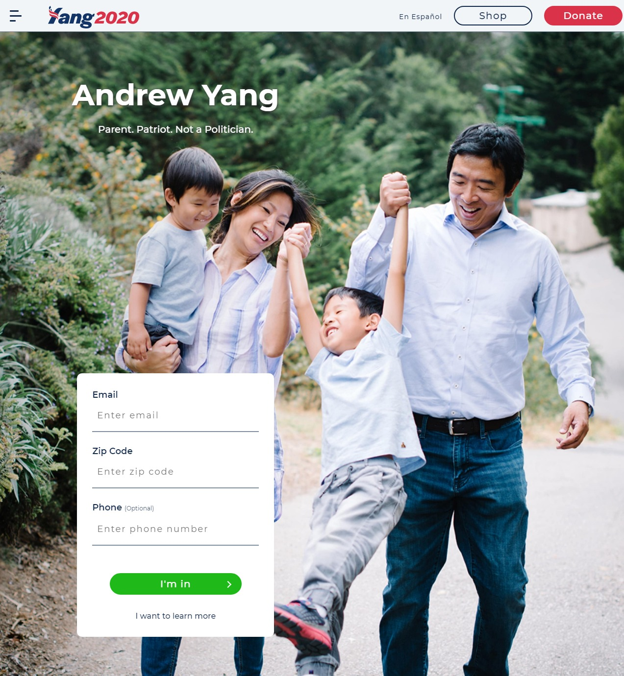 Homepage Snapshot for January 1, 2020: Businessperson Andrew Yang