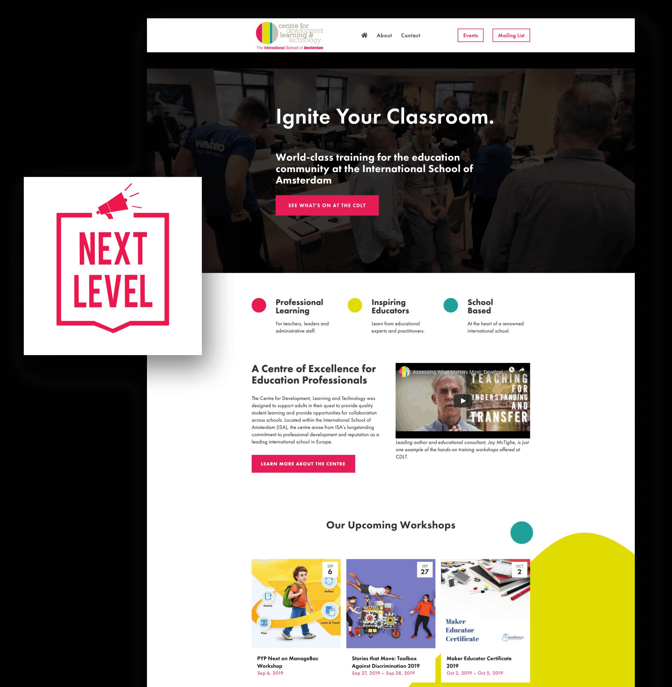 international school conference web design screenshots