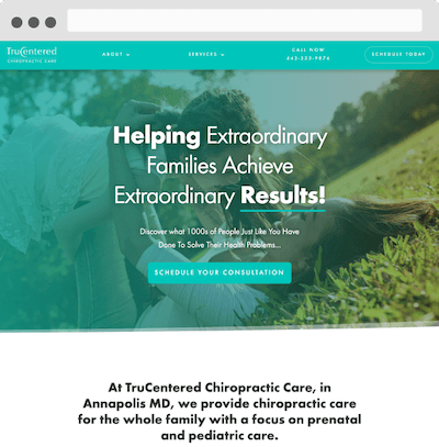 website for chiropractor screenshot
