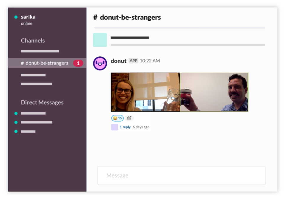 The Slack Donut feature that pairs up employees to connect and network.