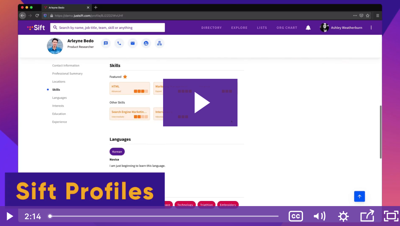 Watch a quick overview of Sift's Profiles