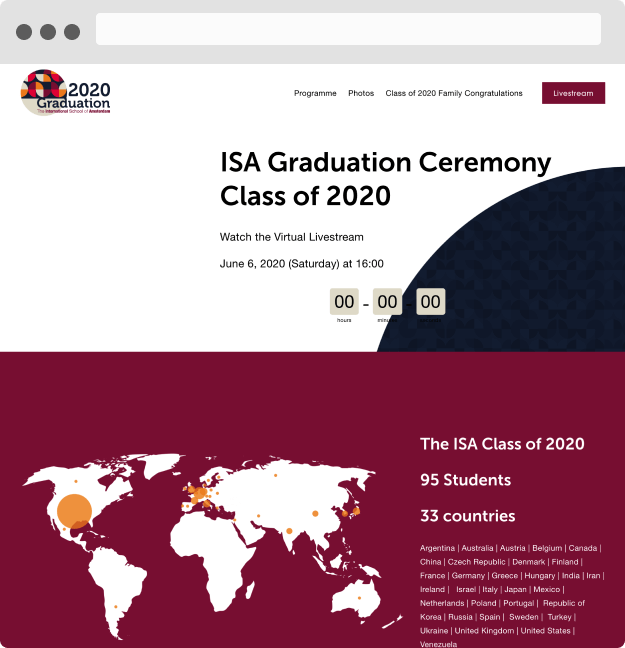 In 2 weeks, setup a global graduation during Covid-19 times to ensure families don't miss a special moment.