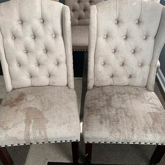 Upholstery before being cleaned by Carolina Green Steam