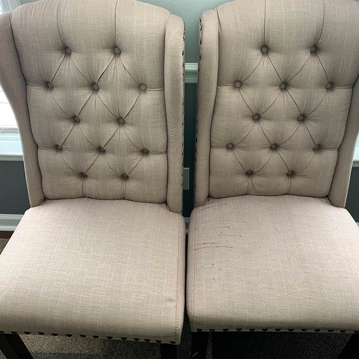 Upholstery after being cleaned by Carolina Green Steam