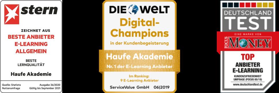 auszeichnungen von die welt digitale champions und focus money top anbieter elearning