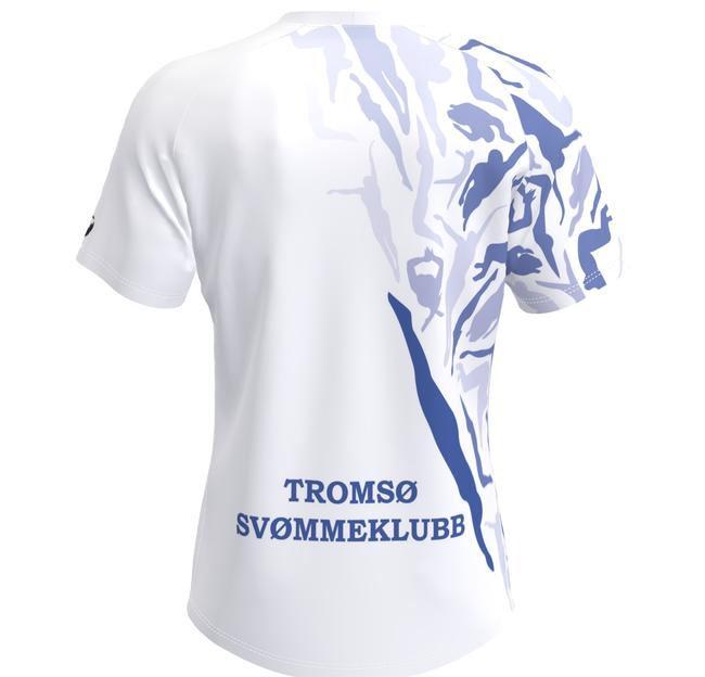 Bilde av baksiden på drakten til Tromsø Svømmeklubb