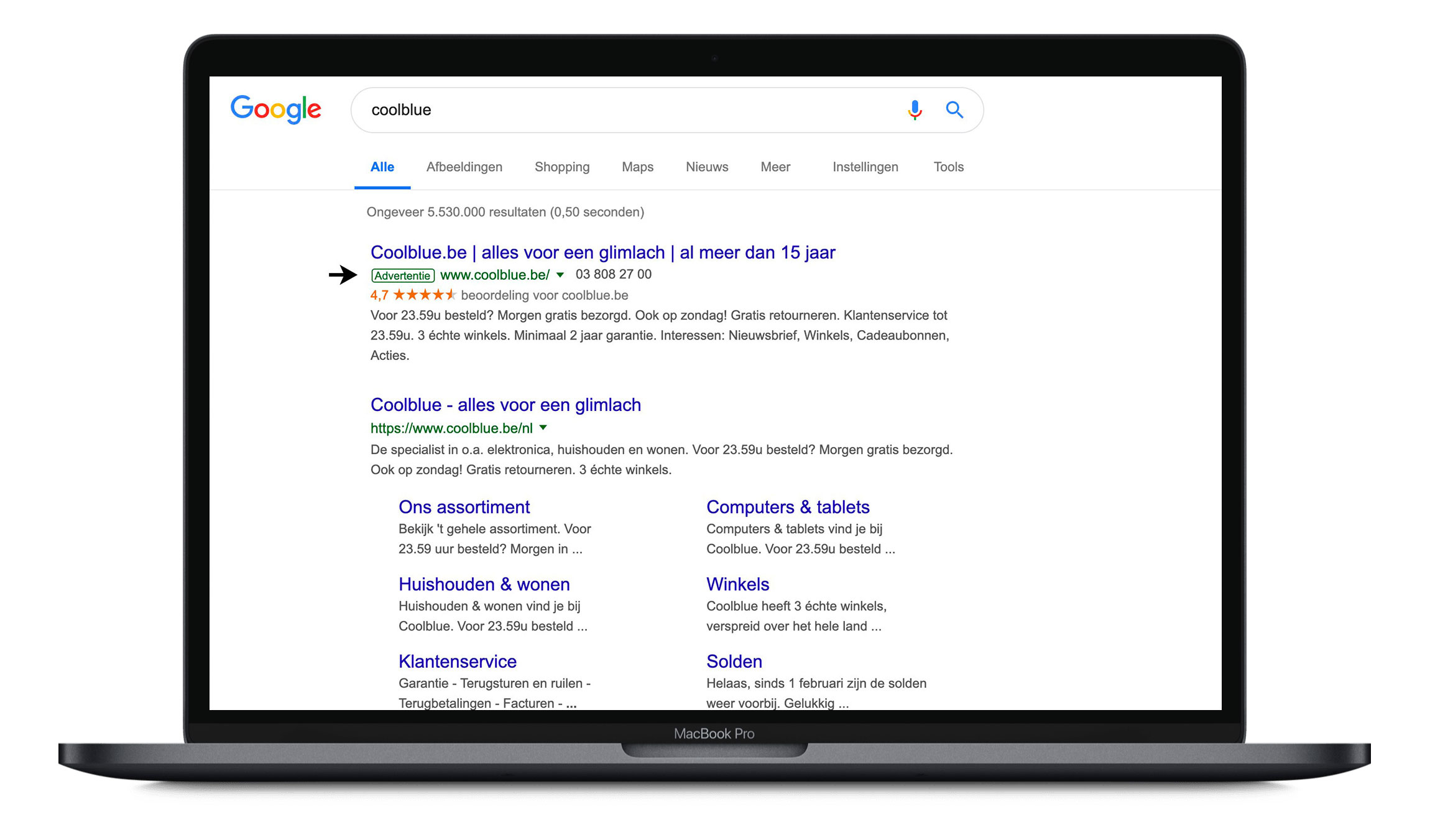 Google ads example coolblue.be
