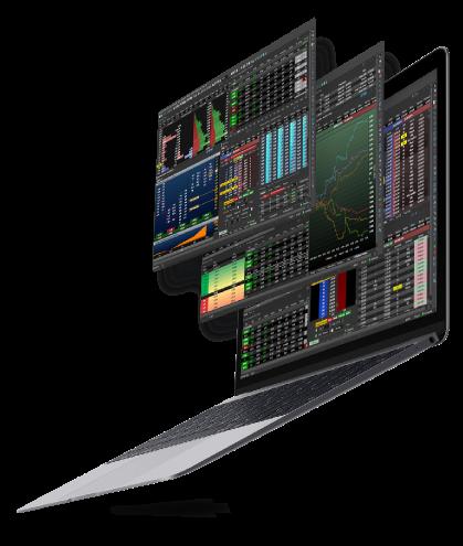 Foto de computador e telas de Profit