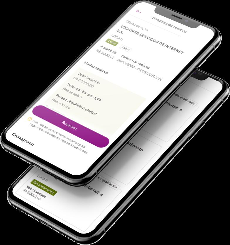 Imagem de celular com aplicativo easynvest