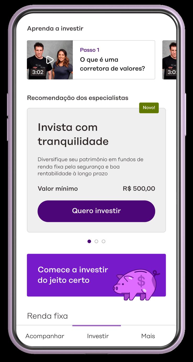 Mockup de celular, mostrando a tela investir