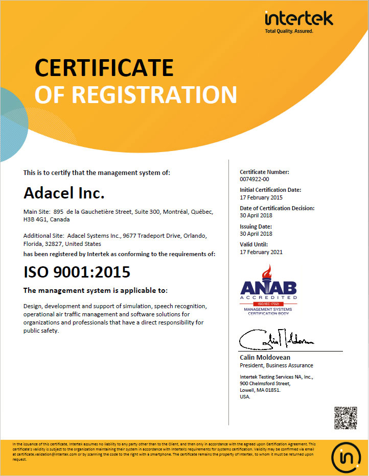 Adacel-Montreal ISO 9001:2015 Certification
