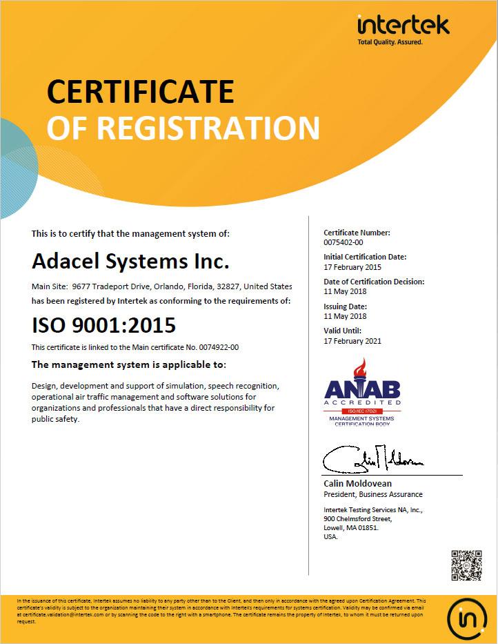 Adacel-Orlando ISO 9001:2015 Certification