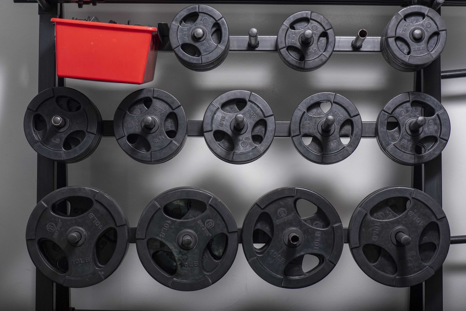 rack of weightlifting plates