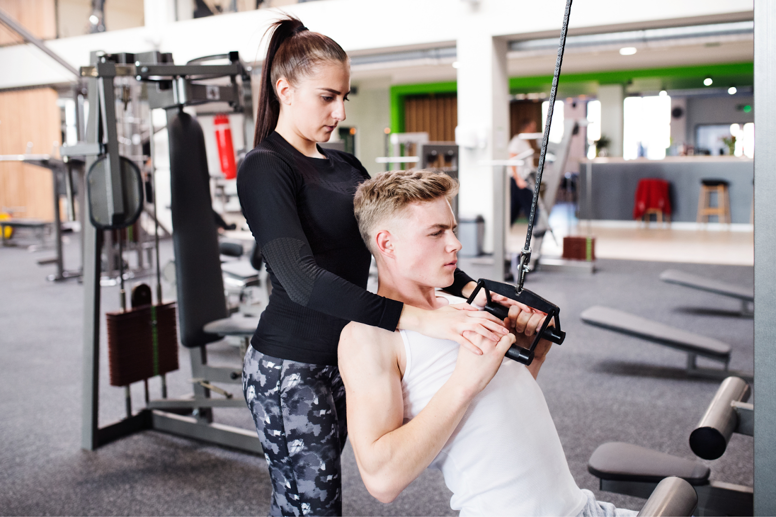two young people working out with each other