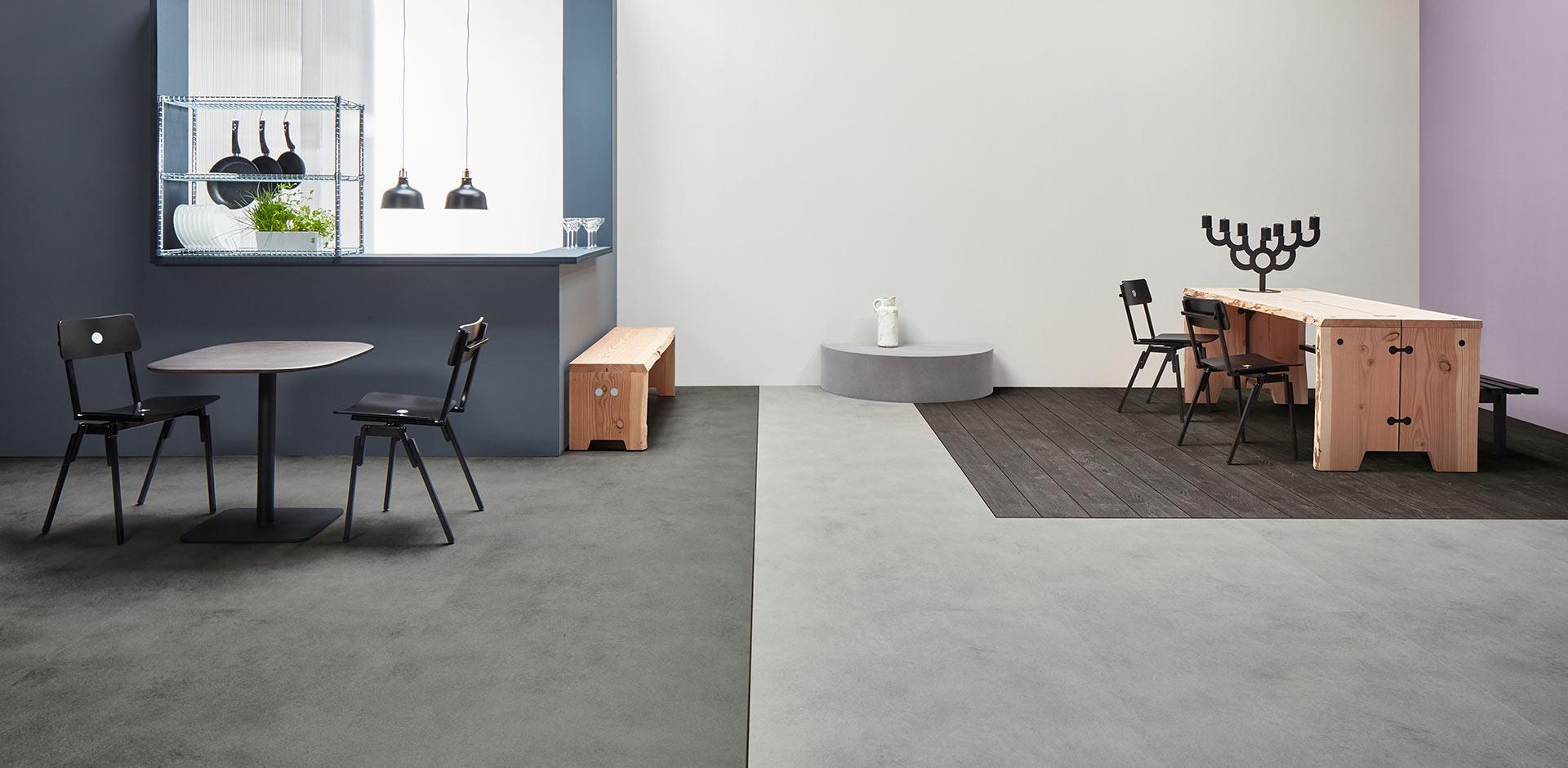 Vinylboden Grey Collage Oak – Dunkelgraue Eichenholz mit fühlbarer Struktur – Jetzt kostenloses Muster bestellen!