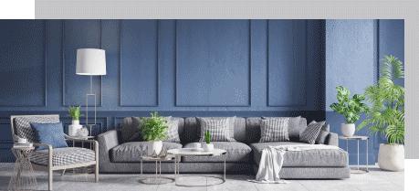 Sofa in blauem Zimmer
