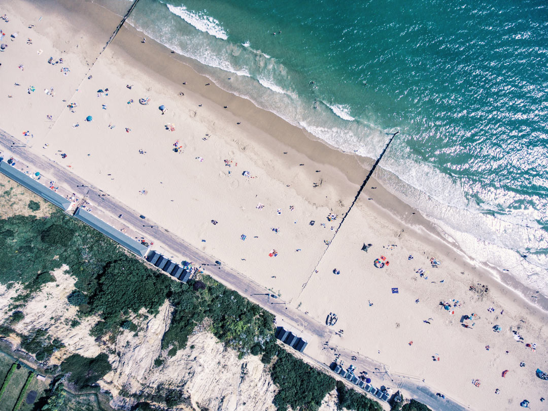 Aerial view of Bournemouth Beach and Sea