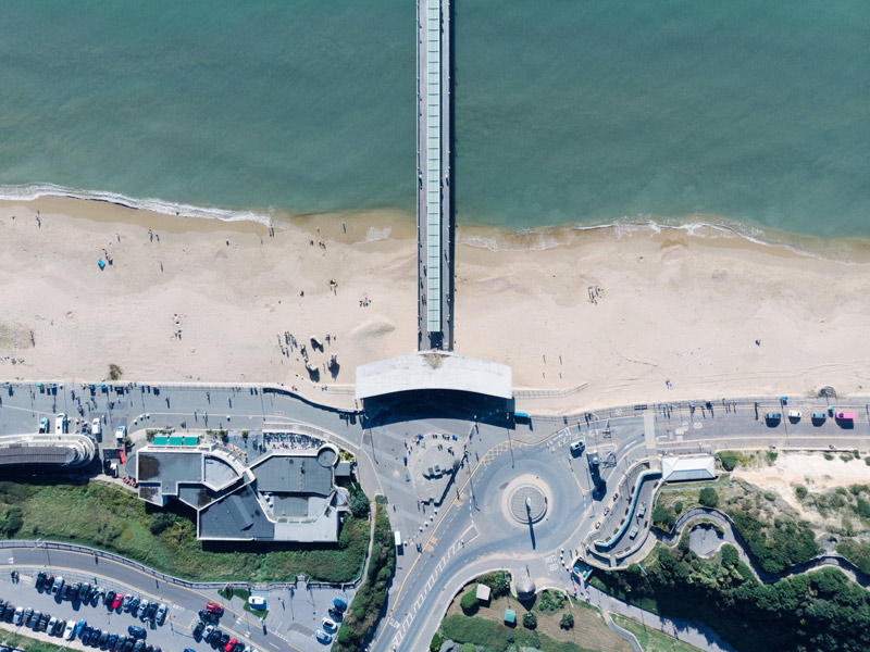 aerial photo of Boscombe pier in Bournemouth Dorset