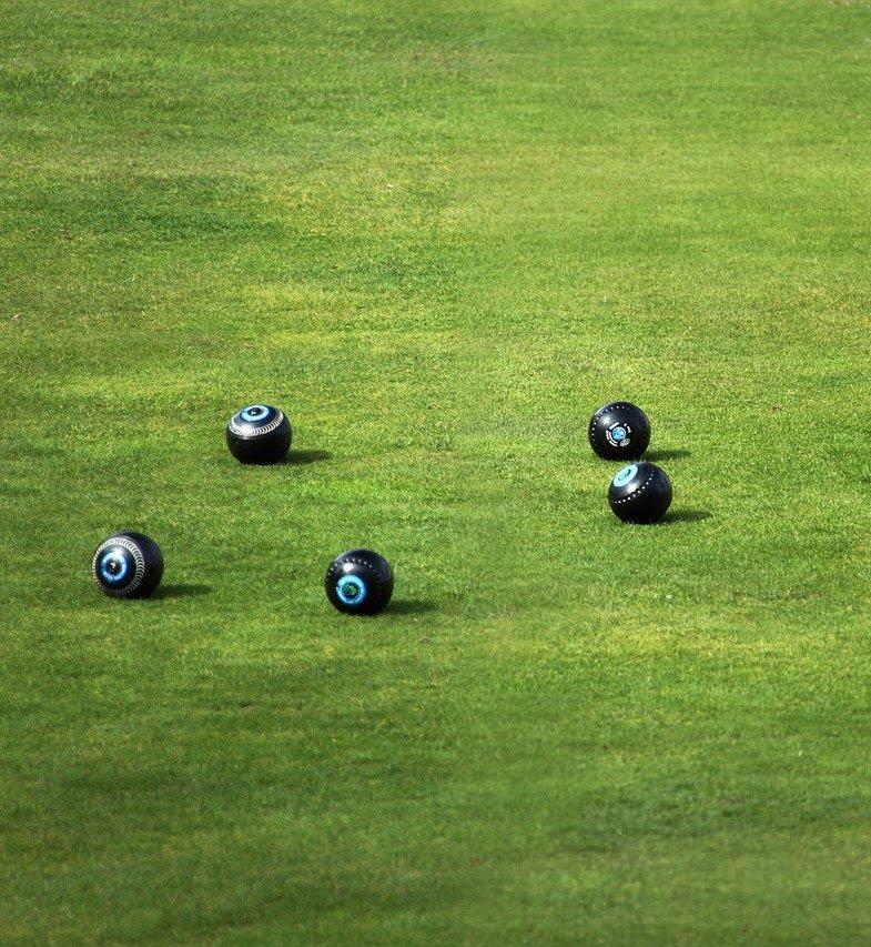 Bowls on green grass