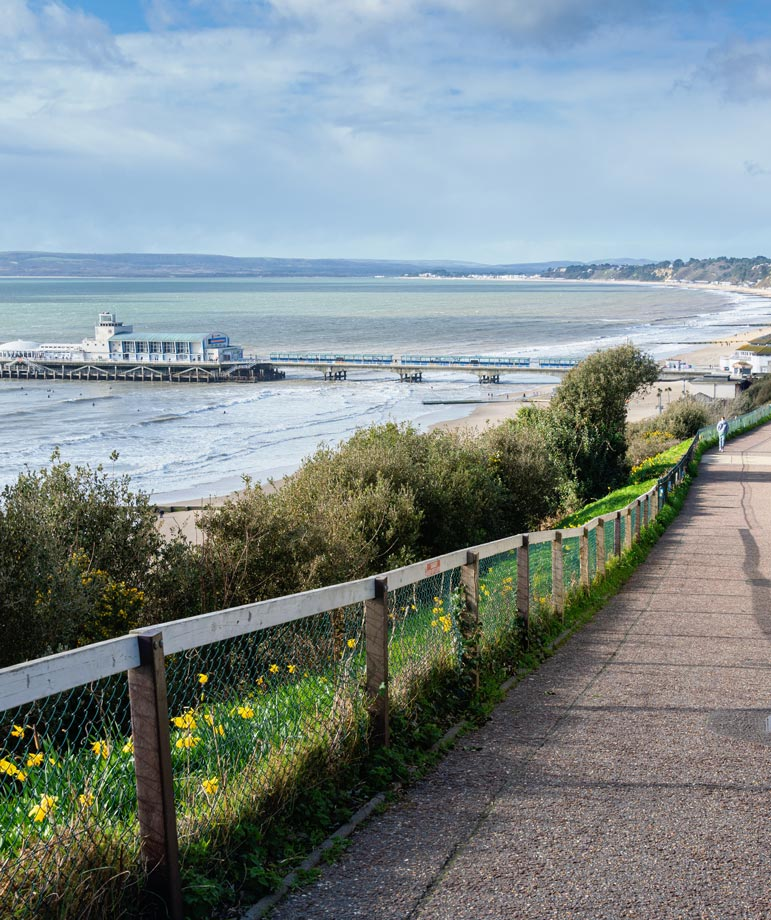 View of Bournemouth Pier and beach from East Cliff