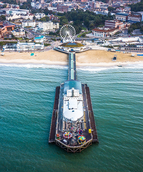 aerial view of the Bournemouth pier