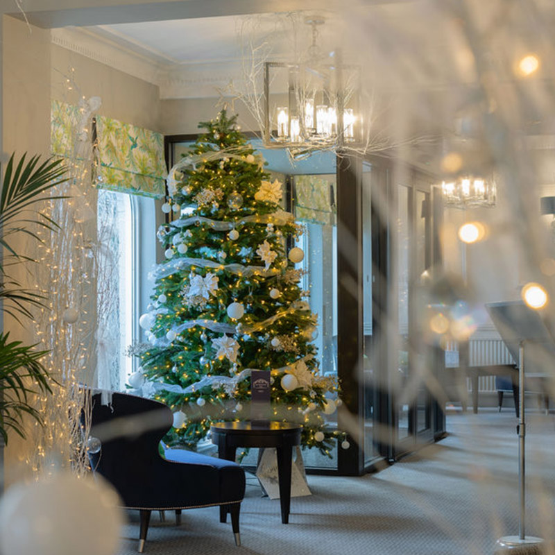 Bournemouth hotel with Christmas tree and beautiful festive decorations