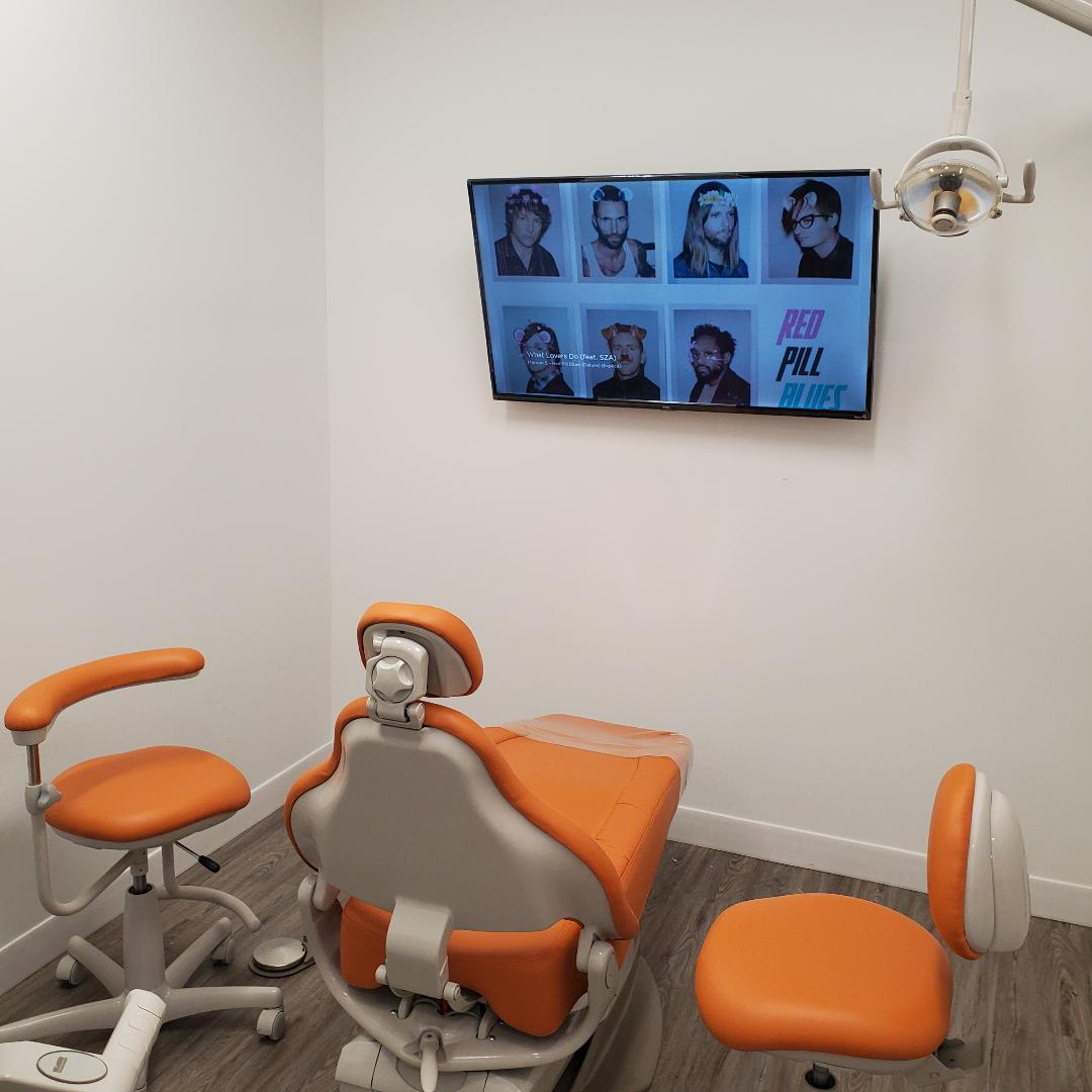 Dental examination room at SmileSpot in Brea, California