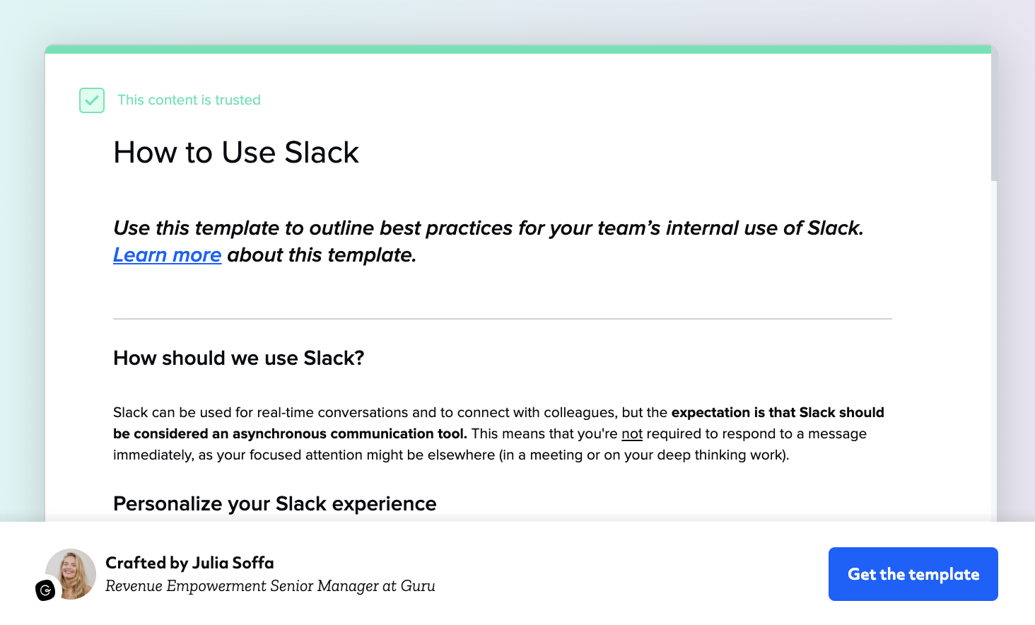 How to Use Slack Template