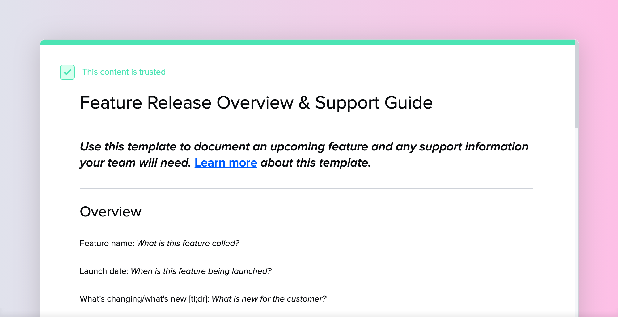 Feature Release Overview