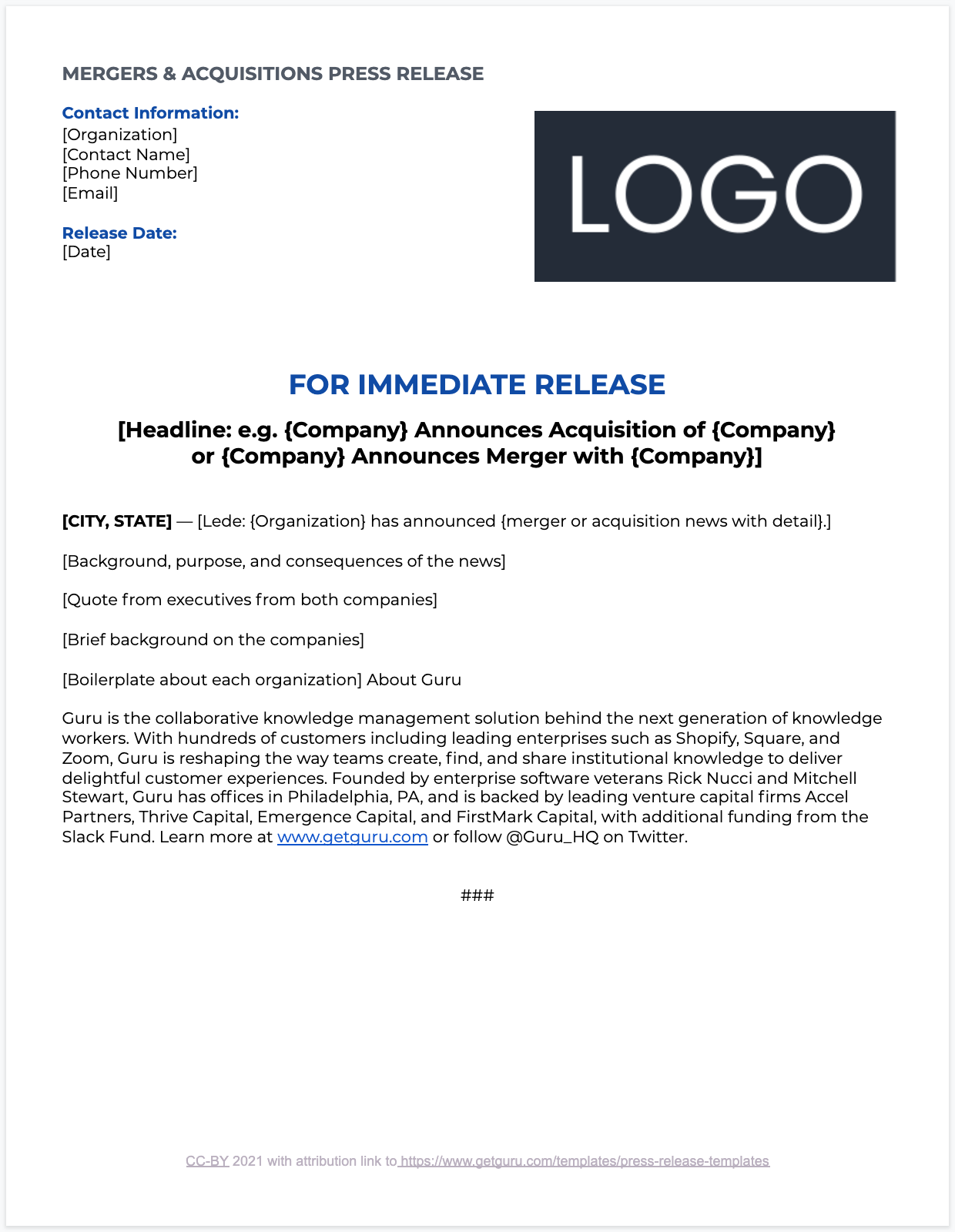 Mergers and Acquisitions Press Release Overview