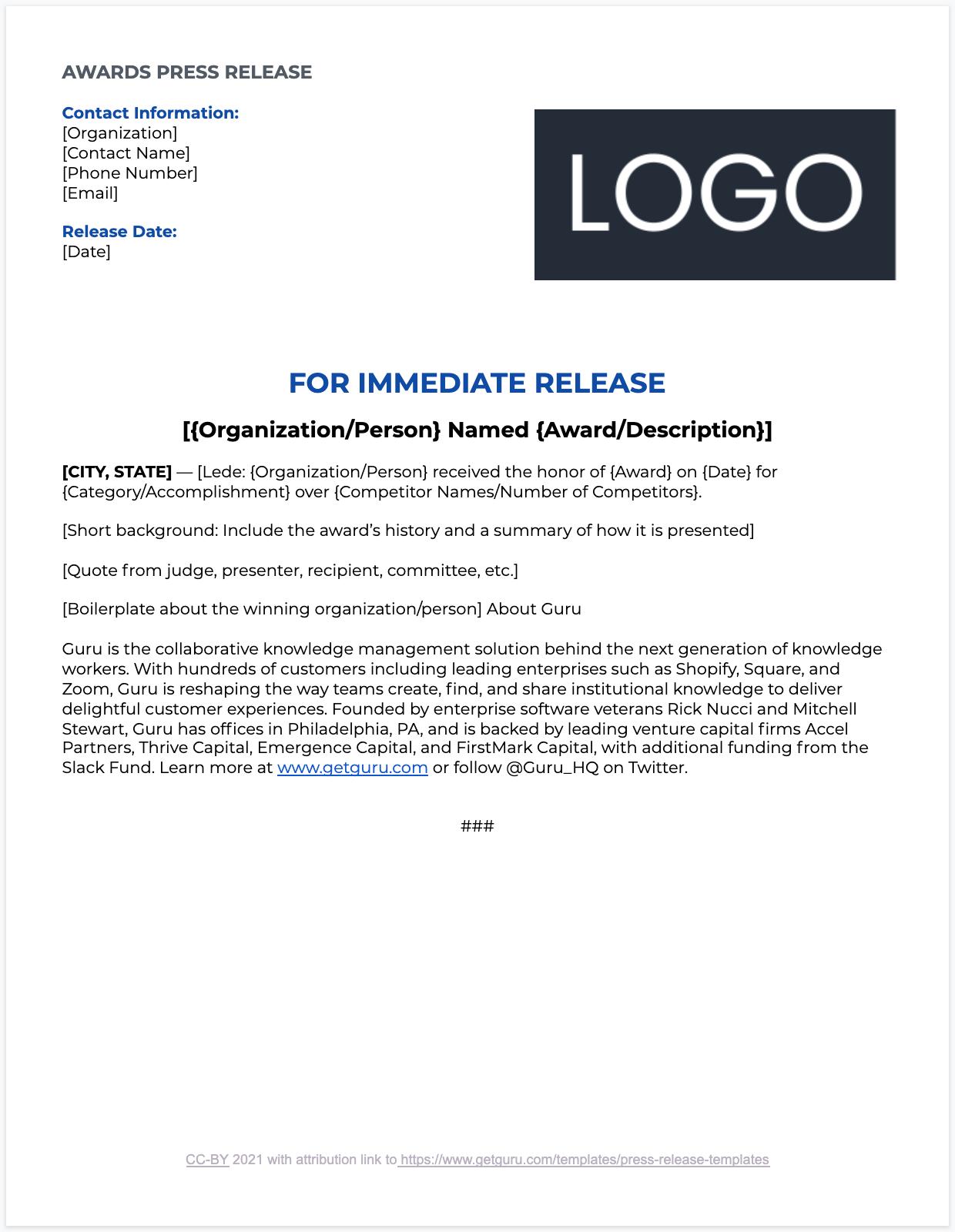 Award Press Release Template
