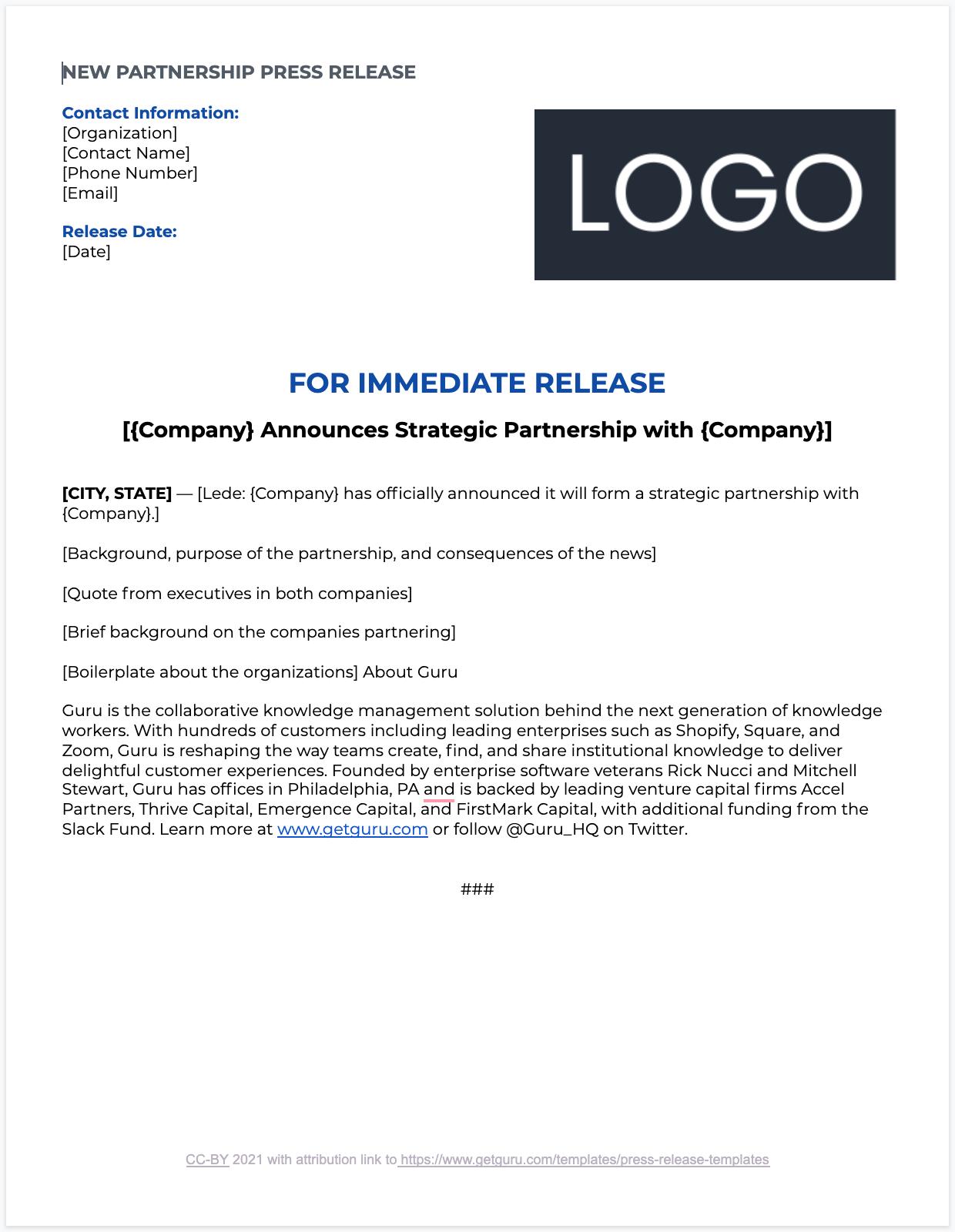 New Strategic Partnership Press Release Template