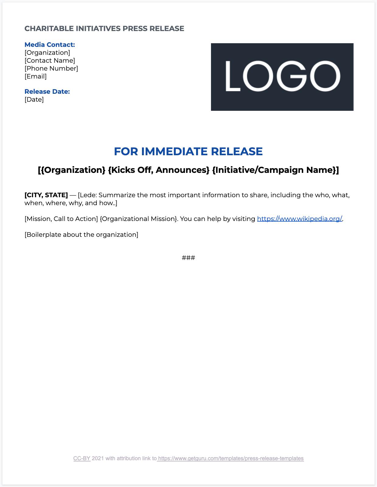 Charitable Initiative Press Release Template