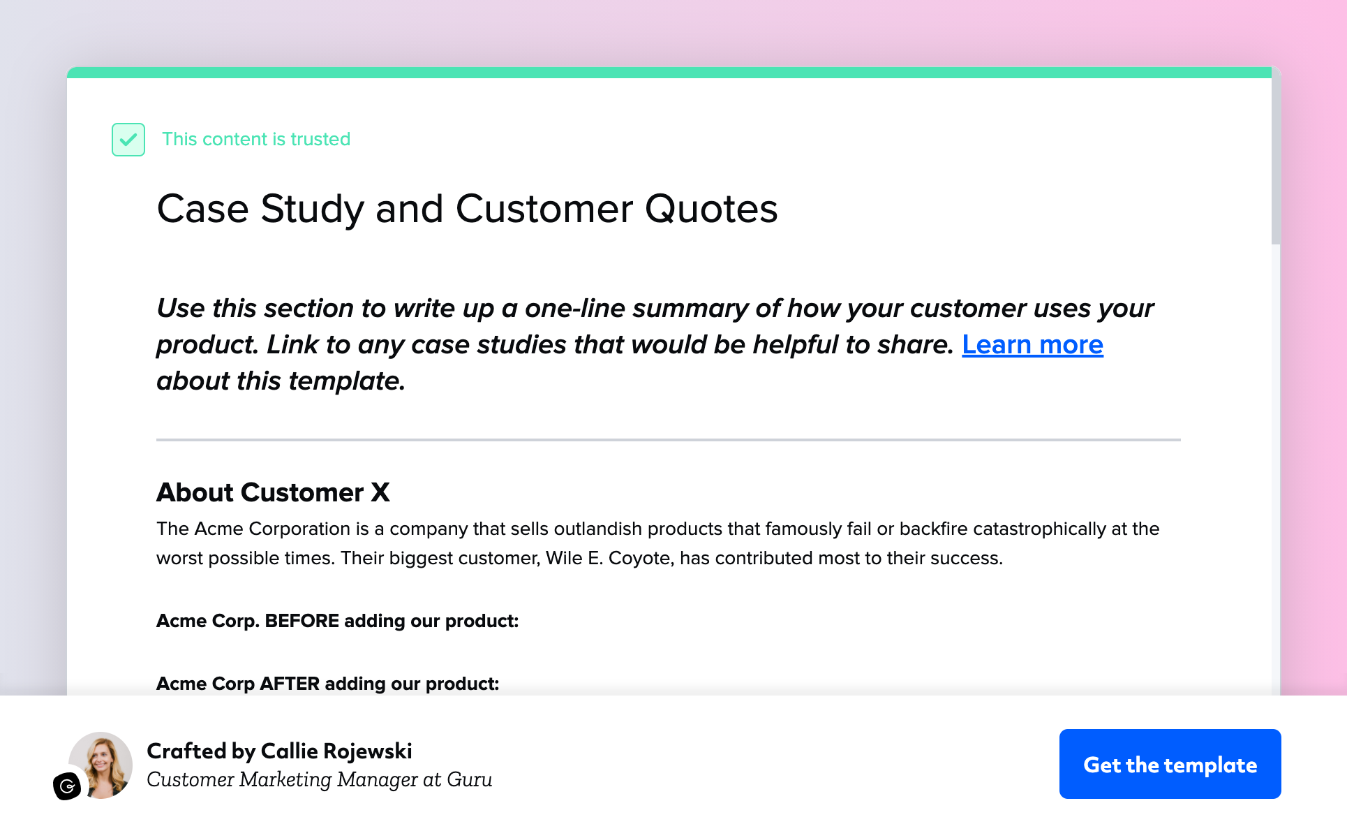 Customer Quote Template