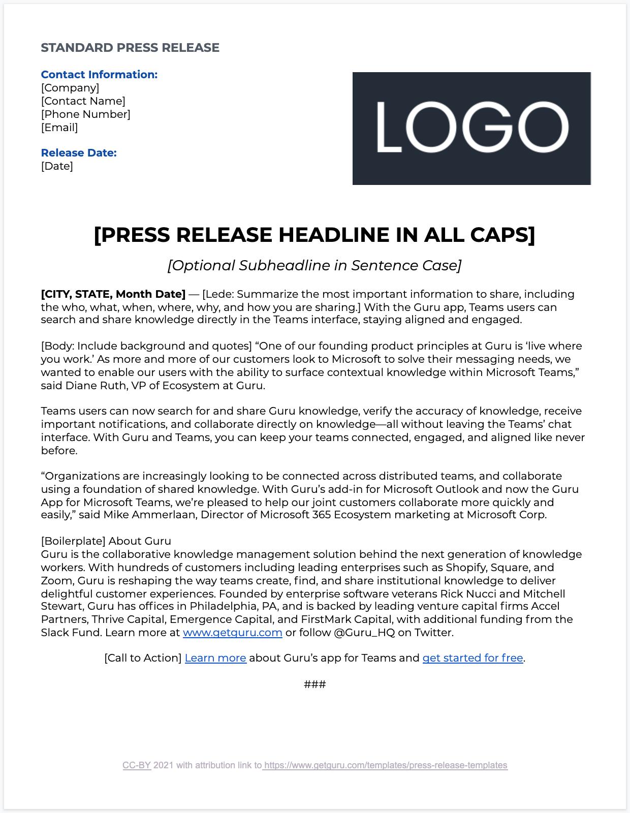 Standard Press Release Template