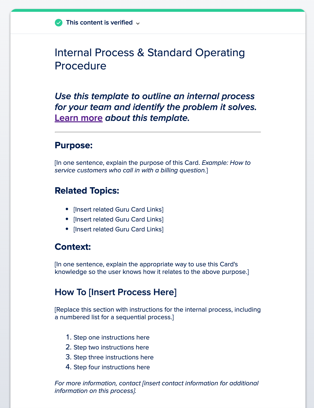 Standard Operating Procedure Example